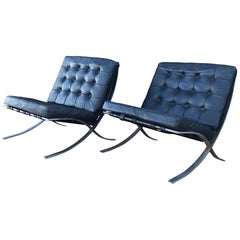 Hippest Black Barcelona Leather Lounge Chairs designer Mies van der Rohe 1970s