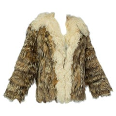 Hippie Coyote Fur and Mongolian Lamb Chubby Jacket, Neiman Marcus - Medium 1970s