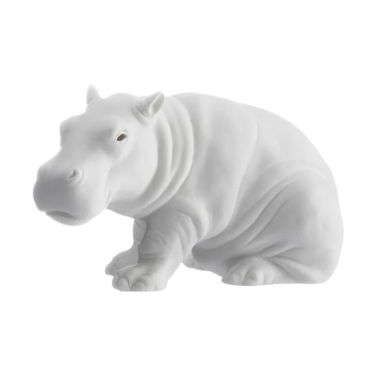 Hippo Animal Figure in White Biscuit Porcelain by Nymphenburg For Sale