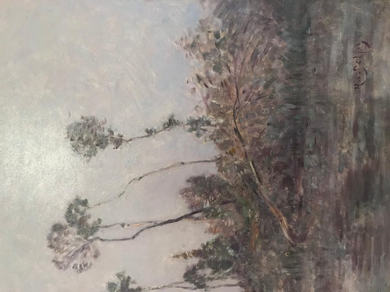 Hand-Painted Hippolyte-Camille Delpy, French, Sunset River Landscape For Sale