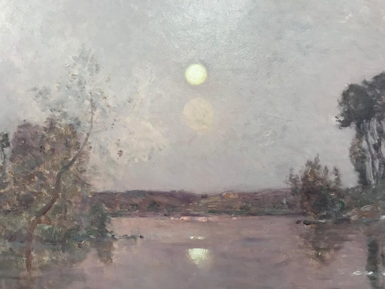 Hippolyte-Camille Delpy, French, Sunset River Landscape In Excellent Condition For Sale In Dallas, TX
