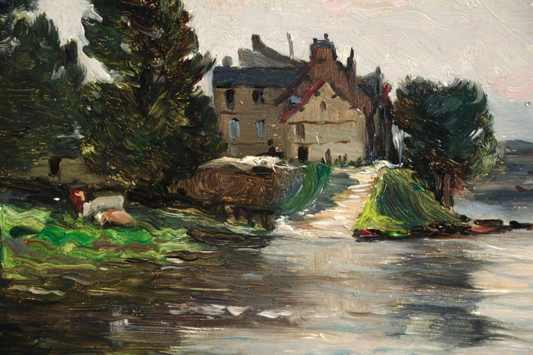 A House by the River - Barbizon School Painting by Hippolyte Camille Delpy