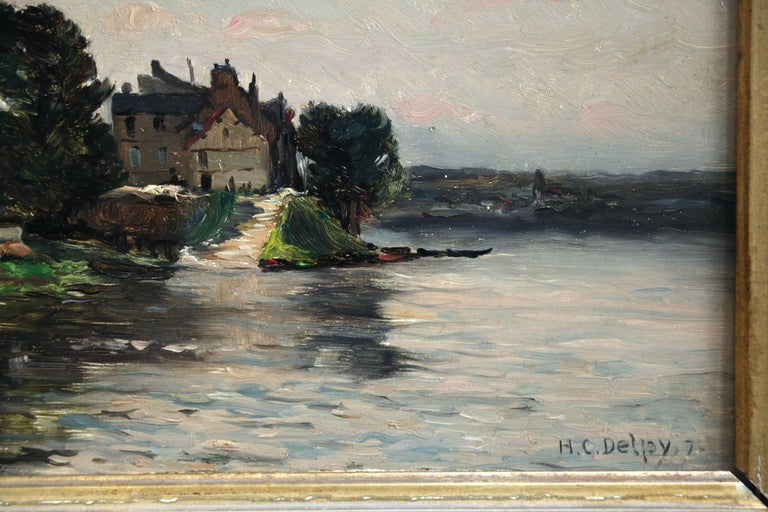 A House by the River - Gray Landscape Painting by Hippolyte Camille Delpy