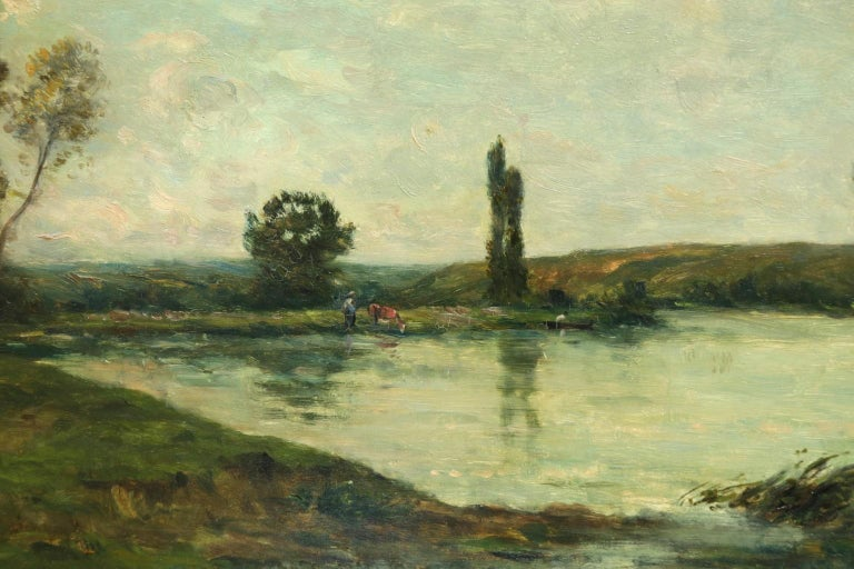 Figures in a River Landscape - 19th Century Barbizon Oil by Hippolyte Delpy - Barbizon School Painting by Hippolyte Camille Delpy