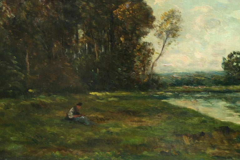 Figures in a River Landscape - 19th Century Barbizon Oil by Hippolyte Delpy - Beige Landscape Painting by Hippolyte Camille Delpy