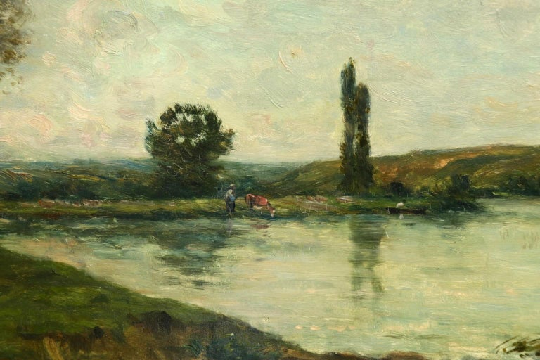 Figures in a River Landscape - 19th Century Barbizon Oil by Hippolyte Delpy For Sale 1