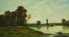 Figures in a River Landscape - 19th Century Barbizon Oil by Hippolyte Delpy