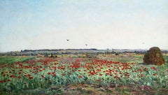 Le champ de coquelicot - 19th Century Barbizon Oil, Landscape by Hippolyte Delpy