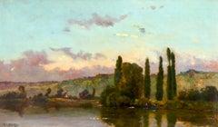 Les bords de la Seine - Barbizon Oil, River in Landscape by Hippolyte Delpy