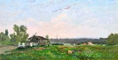 Paysage aux lavandieres - Barbizon Oil, River in Landscape by Hippolyte Delpy
