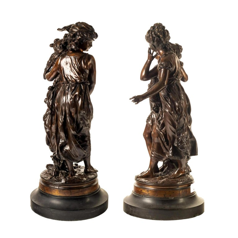 Fine Pair of Patinated Bronze Sculptures by Hippolyte Moreau For Sale 1