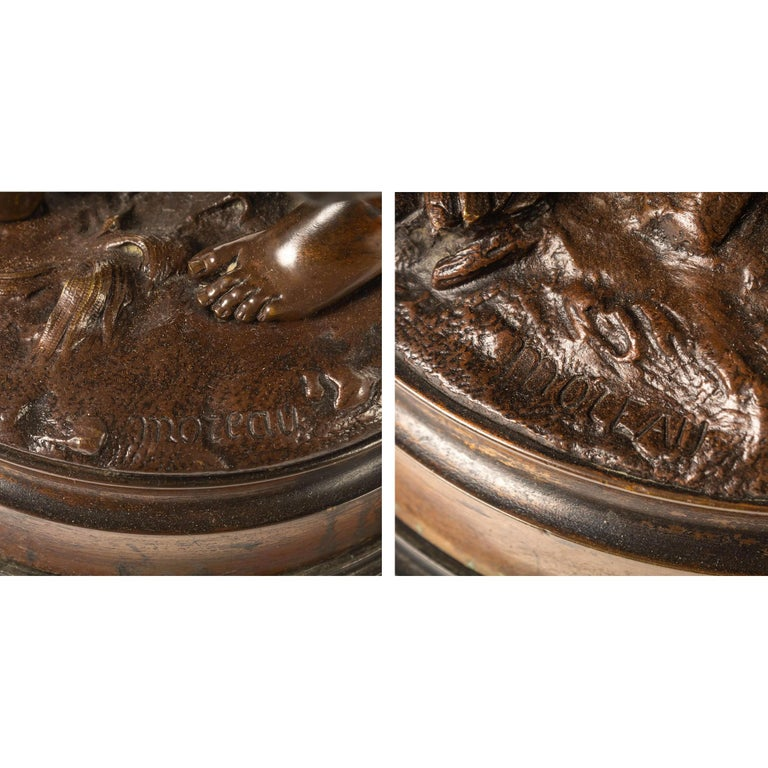 Fine Pair of Patinated Bronze Sculptures by Hippolyte Moreau For Sale 3