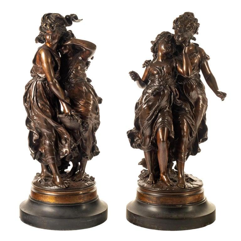 Hippolyte François Moreau Figurative Sculpture - Fine Pair of Patinated Bronze Sculptures by Hippolyte Moreau