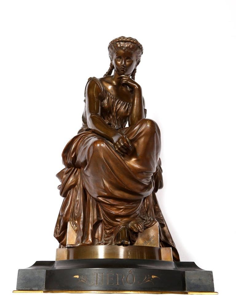 Hero, Art Nouveau Bronze Sculpture by Moreau - Gold Figurative Sculpture by Hippolyte François Moreau