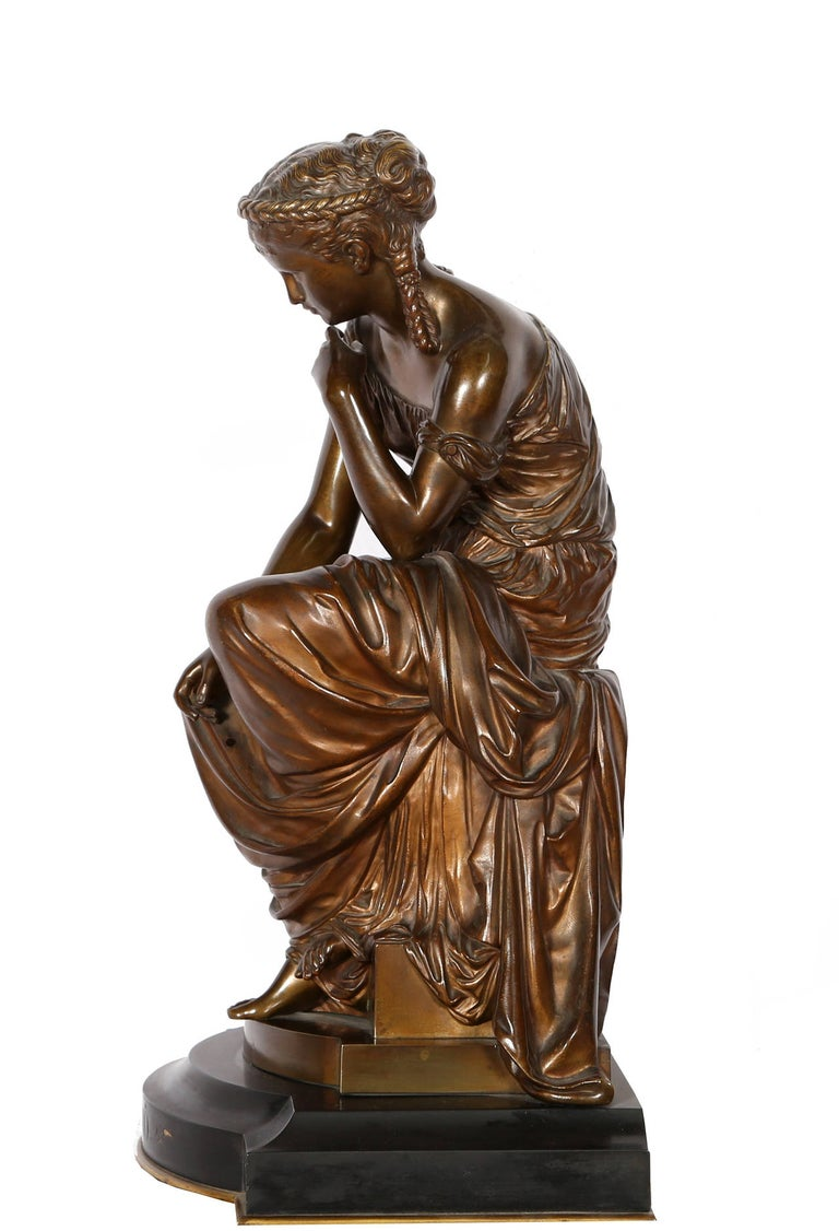 Artist: Hippolyte Moreau, French (1832 - 1927) Title: Hero Medium: Bronze Sculpture on Marble Base, signature inscribed Size: 19 x 11 x 9 in. (48.26 x 27.94 x 22.86 cm)  The tale of Hero and Leander is one of Greek mythology's most tragic love