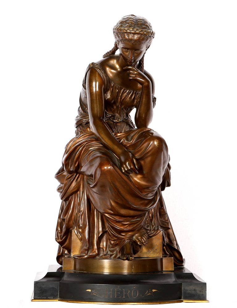 Hippolyte François Moreau Figurative Sculpture - Hero, Art Nouveau Bronze Sculpture by Moreau