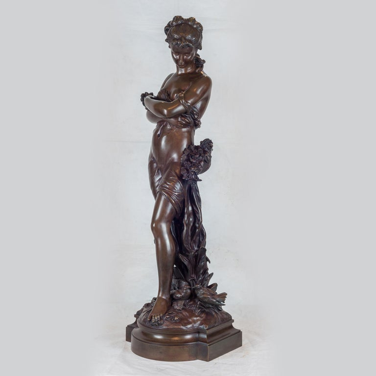 Standing Beauty Representing Spring - Sculpture by Hippolyte François Moreau