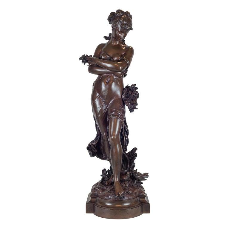 Hippolyte François Moreau Figurative Sculpture - Standing Beauty Representing Spring