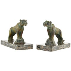 Hippolyte Moreau Pair of French Art Deco Tiger Bookends, Late 1910s