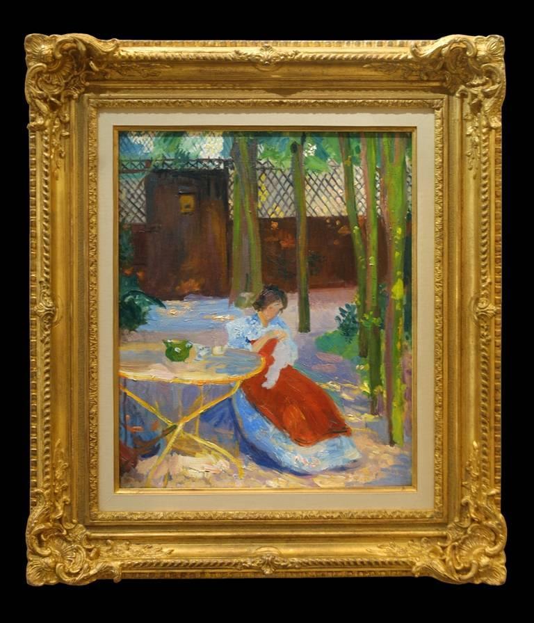 A Impressionist Garden Portrait 'Femme dans un Jardin' by Hippolyte Pettijean - Painting by Hippolyte Petitjean