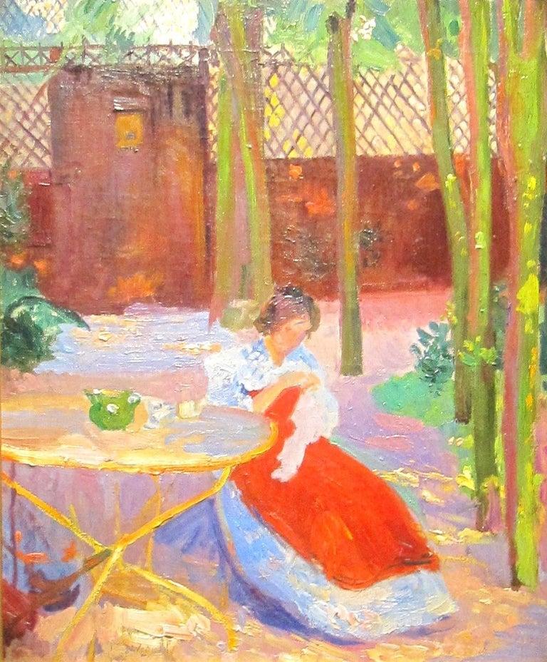 A Impressionist Garden Portrait 'Femme dans un Jardin' by Hippolyte Pettijean - Brown Figurative Painting by Hippolyte Petitjean