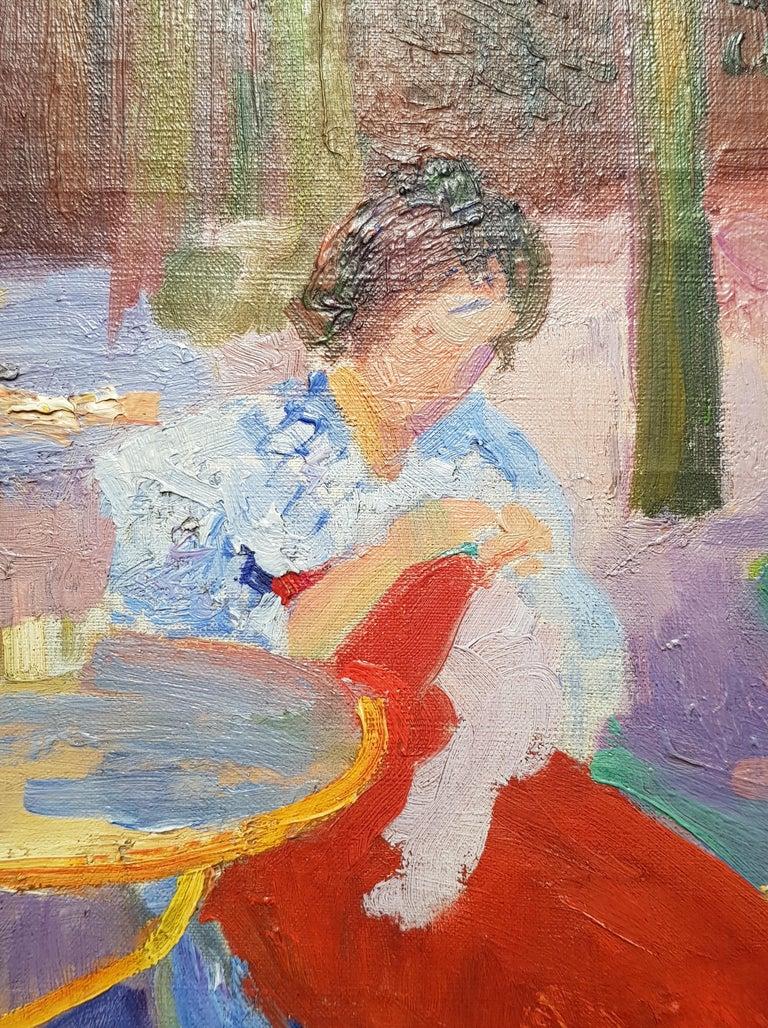 A Impressionist Garden Portrait 'Femme dans un Jardin' by Hippolyte Pettijean 1