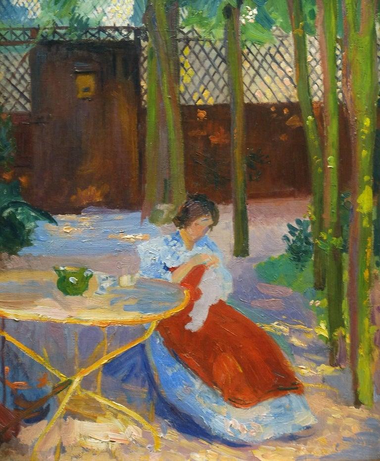 Hippolyte Petitjean Figurative Painting - A Impressionist Garden Portrait 'Femme dans un Jardin' by Hippolyte Pettijean