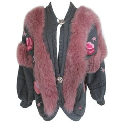Hippy Chic Wool Fox Fur coat with Flower appliqués