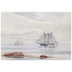 "Hiram Peabody Flaggs ""Sailing Ship"" Original Watercolor, circa 1910"