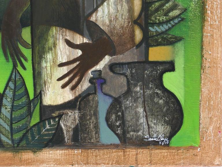 Hiremio Garcia Santaolaya abstract painting, Cuban American artist    Offered for sale is an original mixed media abstract figurative acrylic painting on canvas by the Cuban American artist Hiremio Garcia Santaolaya titled