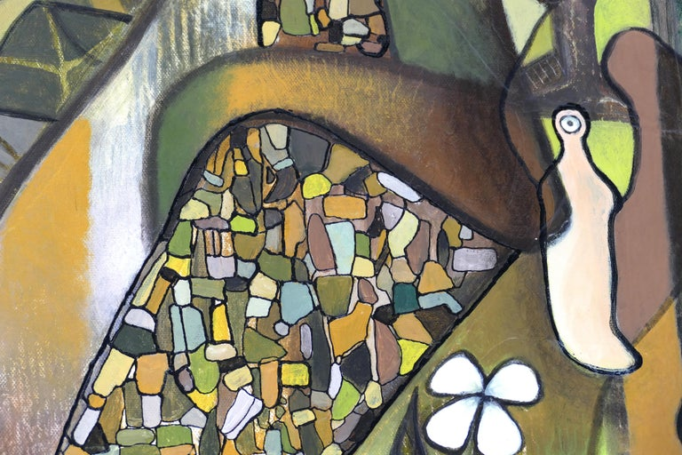 Canvas Hiremio Garcia Santaolaya Abstract Painting, Cuban American Artist For Sale