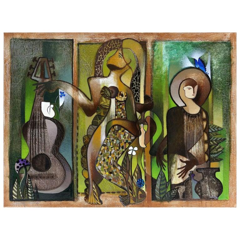 Hiremio Garcia Santaolaya Abstract Painting, Cuban American Artist For Sale