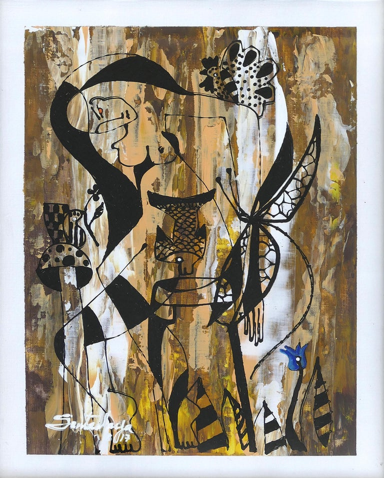 Hiremio Garcia Santaolaya Abstract Painting Cuban American Artist