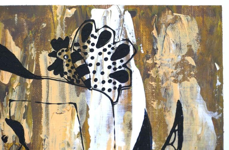 Glass Hiremio Garcia Santaolaya Abstract Painting, Cuban American Artist For Sale
