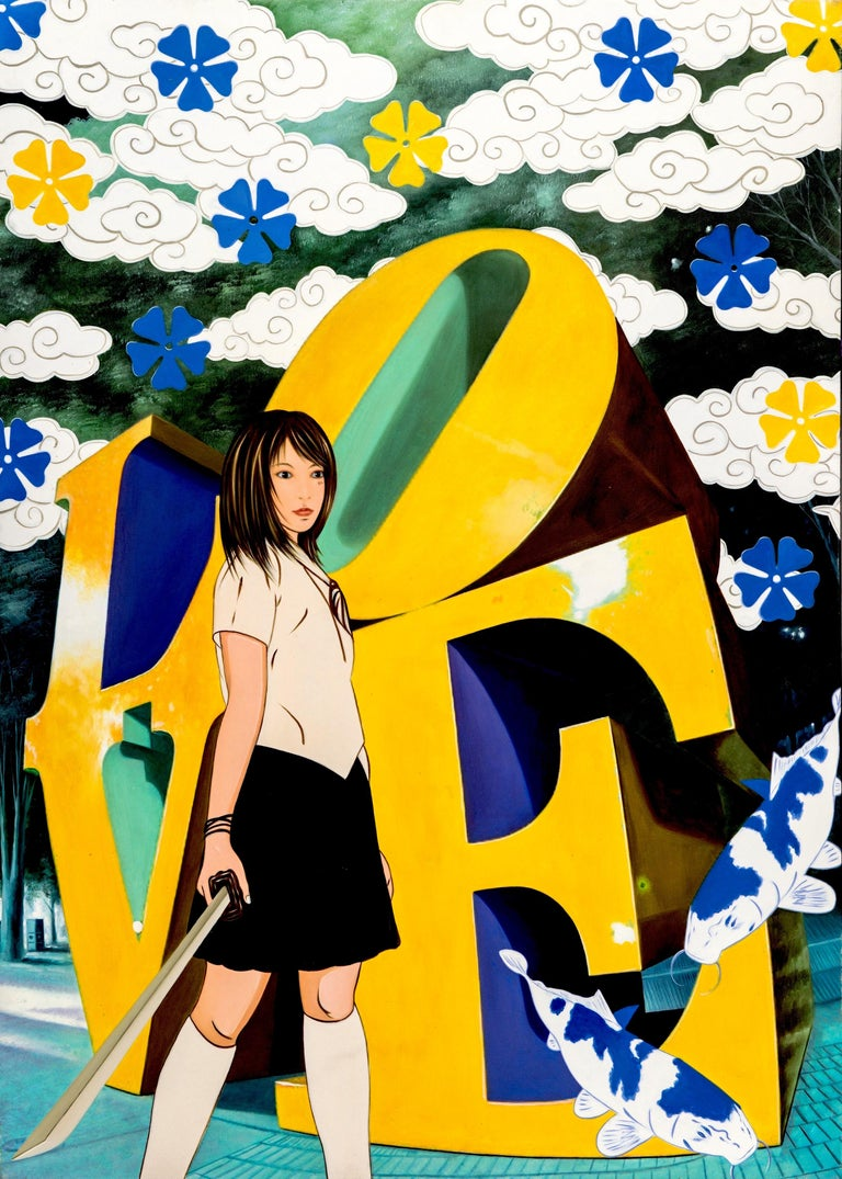 yellow & blu love - Painting by HIRO ANDO