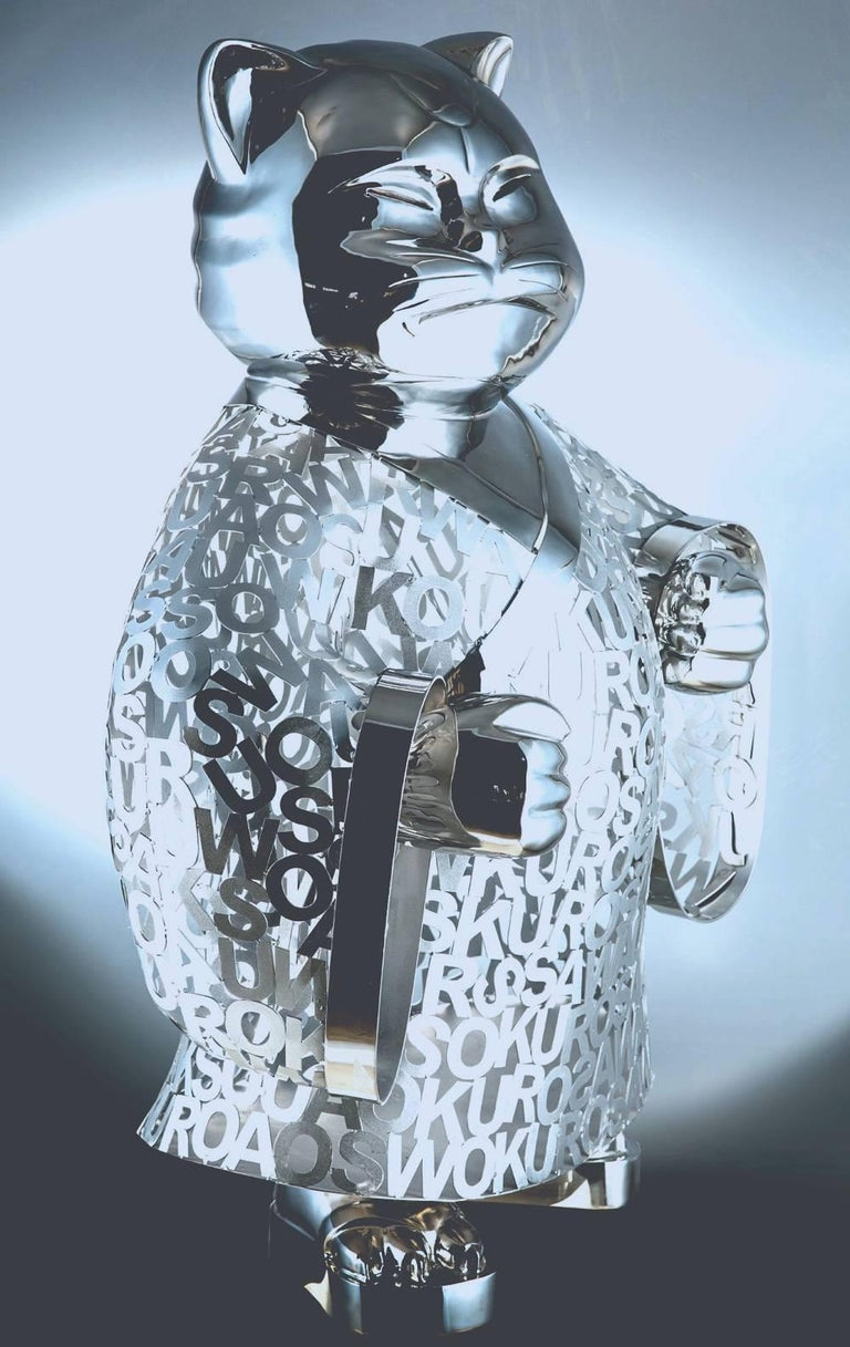 bushi is a stainless steel carved & polished sculpture in the round by famous Neo-Pop Japanese artist Hiro Ando Ando is famous for his iconic series of 'Superflat' sculptures of cats and pandas that combine Traditional and Contemporary associations