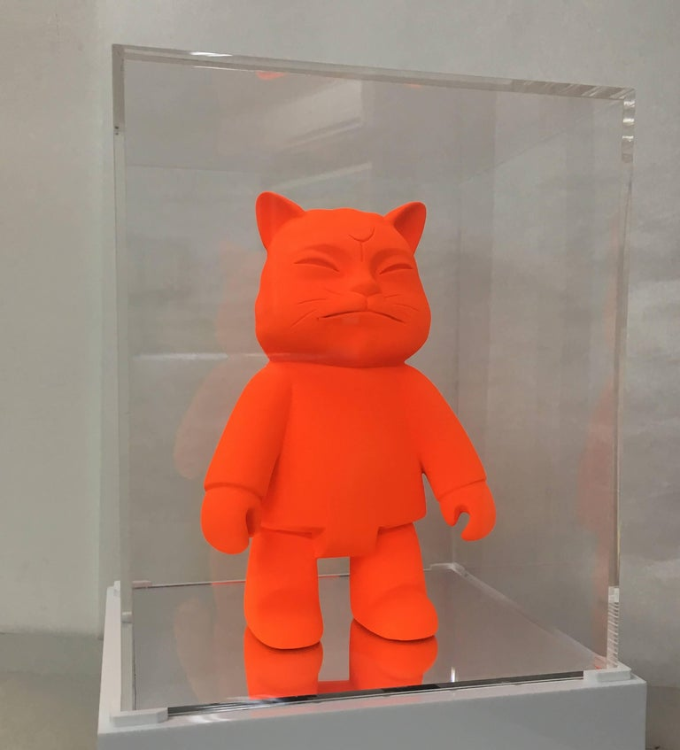 Monology robotcat, 2008 Mix Media Resin and Pigment PolyChrome with  protective Cap Plexiglas with LED 12 1/5 × 9 4/5 × 9 1/10 in 31 × 25 × 23 cm Edition of 8