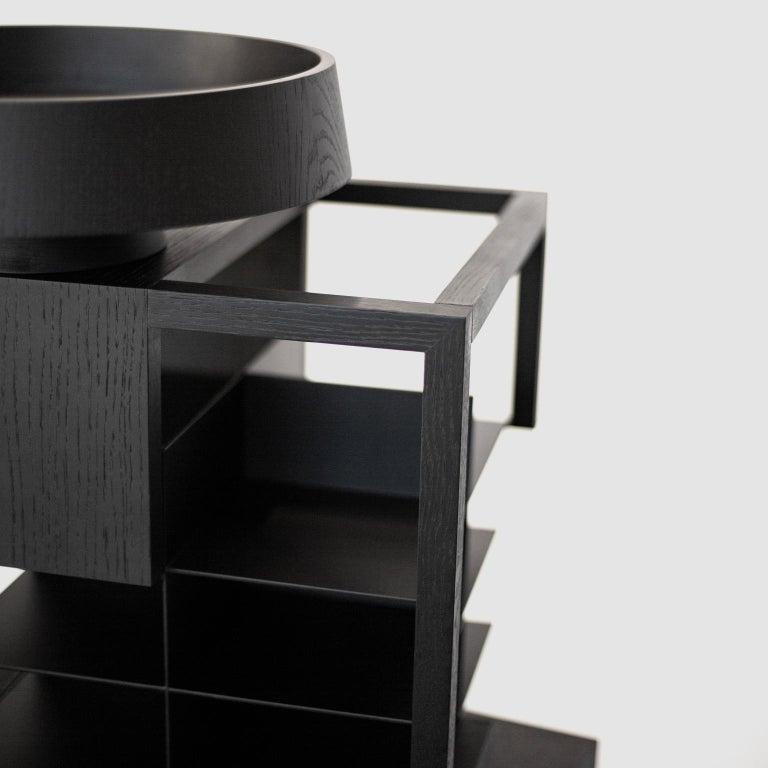 Hiro Contemporary Bookcase or Cabinet in Oak Wood 4