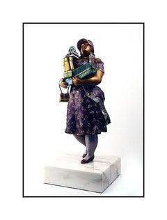 Hiro Yamagata Bronze Full Round Sculpture Shopper Signed Female Portrait Artwork