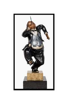 Hiro Yamagata Full Round Bronze Sculpture The Conductor Signed Music Caricature