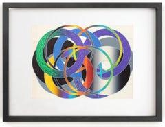 Hiroshi Murata Silk Screen Framed Colorful Geometric Print Framed Rare 1970's