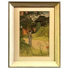 Hiroshi Yoshida Framed Japanese Color Woodblock Print Hundred Flower Garden