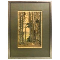 Hiroshi Yoshida Framed & Matted Japanese Color Woodblock Print Bamboo Wood, 1939