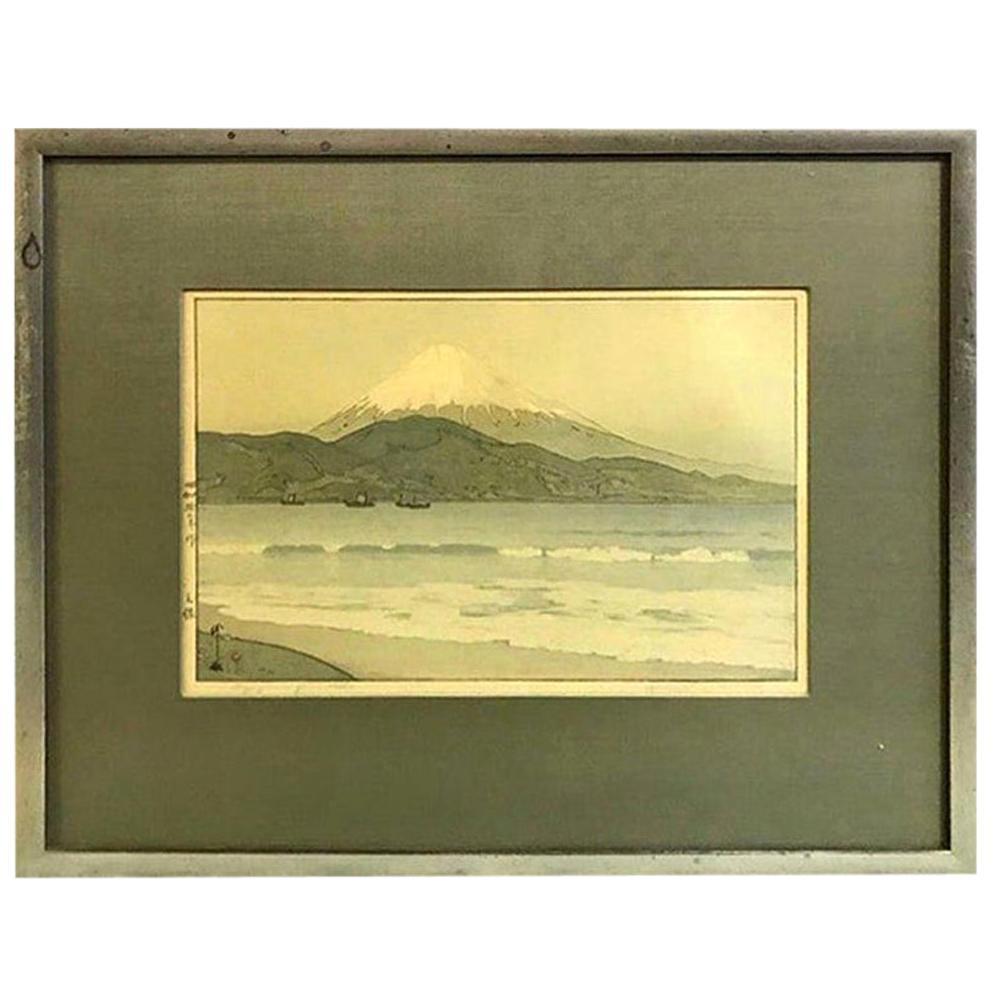 Hiroshi Yoshida Framed Rare Japanese Color Woodblock Print Fujiyama from Miho