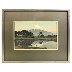 Hiroshi Yoshida Framed Rare Japanese Color Woodblock Print Suzukawa, 1935