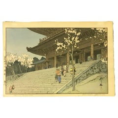 Hiroshi Yoshida Japanese Jizuri Seal Woodblock Print Chionin Temple Gate, 1935