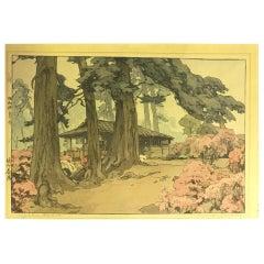 Hiroshi Yoshida Lifetime Jizuri Japanese Print Tea House in Azalea Garden, 1938