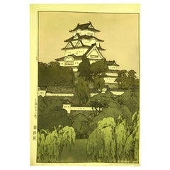 Hiroshi Yoshida Lifetime Jizuri Seal Japanese Print Himeji Castle Morning, 1926