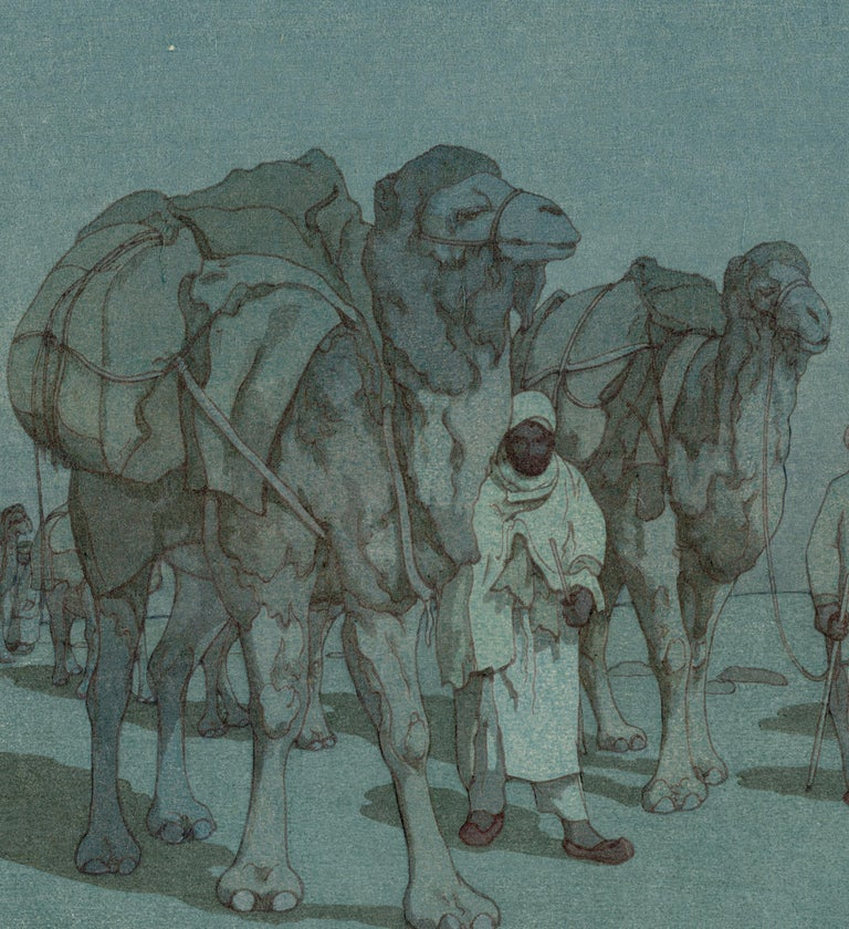 Caravan from Afghanistan on a Moonlit Night - Print by Hiroshi Yoshida