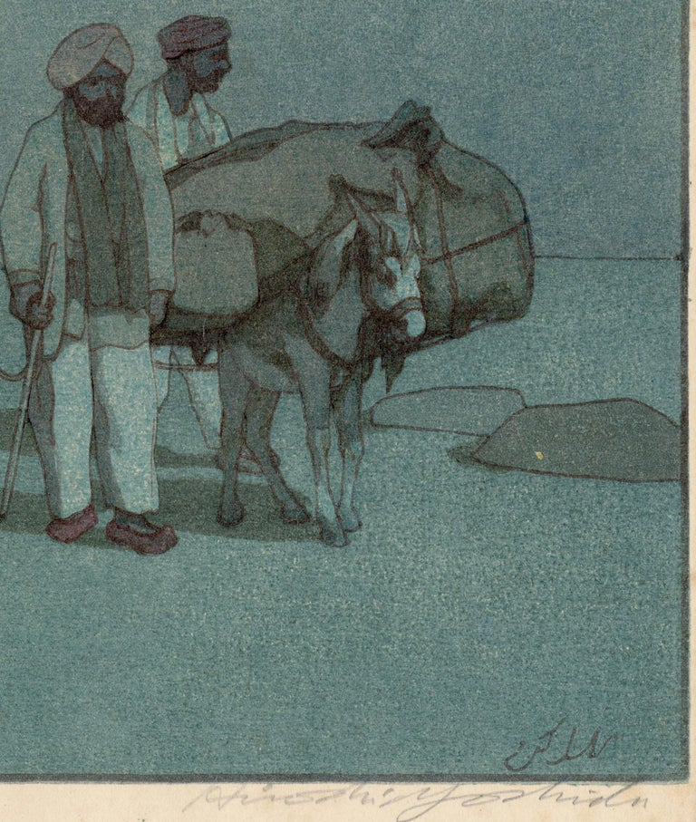 Caravan from Afghanistan on a Moonlit Night - Gray Landscape Print by Hiroshi Yoshida